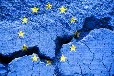 Flag of the  European Union on cracked background