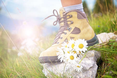 bunch up: Close up of a woman foot in a hiking shoe and a bunch od daisies on a mountain trail Stock Photo