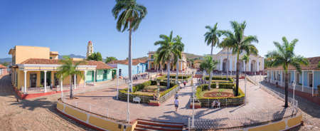 colonial house: Panorama of Plaza Mayor, Trinidad, Cuba Stock Photo