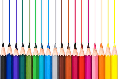 color pencils: Colorful wooden pencils drawing lines isolated on white background Stock Photo