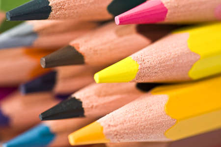 up close: Close up of a stack of colorful wood pencils