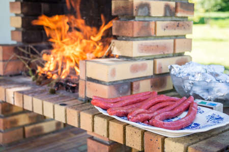 masonry: Merguez sausages on a plate, masonry barbecue with fire and flames