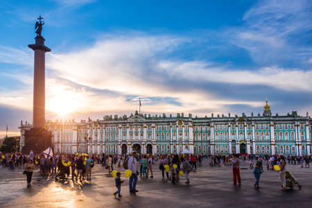 The Hermitage, Winter Palace and Alexander Column at sunset on Palace Square, St Petersburg Russia