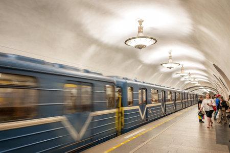 st  petersburg: Metro station with chandeliers in St Petersburg, Russia