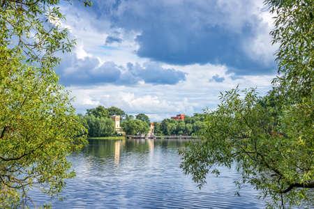 st  petersburg: Holguin pond in Peterhof. St Petersburg, Russia