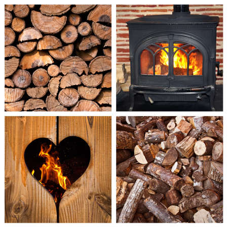 burning: Wood burning stove and logs collage