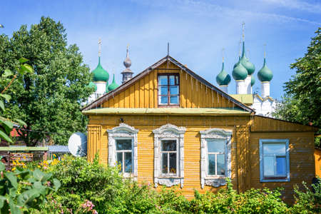 tourism russia: Colorful traditional wooden house in Rostov, Golden ring,  Russia