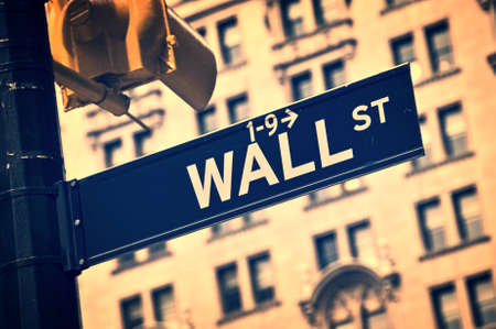 wallstreet: Close up of a Wall street direction sign, New York City, vintage process Editorial