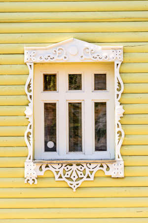 golden ring: Detail of a window of a traditional wooden house in Rostov, Golden ring,  Russia