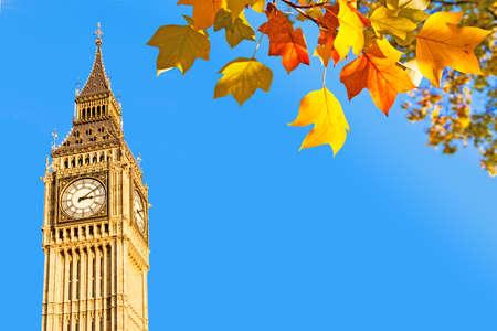 bigben: Big Ben and autumnal leaves, London, UK Stock Photo