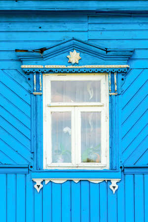 wooden window: Detail of a window of a traditional wooden house in Suzdal, Golden ring,  Russia