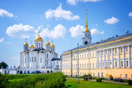 golden ring: Dormition cathedral and Bell tower, in Vladimir, Golden Ring, Russia Editorial