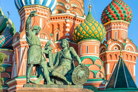 red square moscow: Monument to Minin and Pozharsky and St Basils cathedral on Red Square, Moscow, Russia