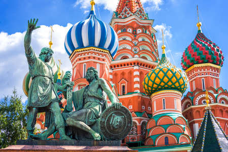 Monument to Minin and Pozharsky and St Basils cathedral on Red Square, Moscow, Russia