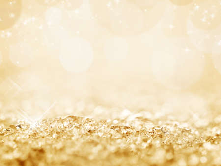 golden: Golden snow and bokeh Christmas background