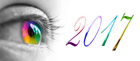 2017 and colorful rainbow eye header, 2017 new year greetings concept
