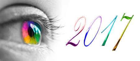 imprenta: 2017 y encabezado colorido arco iris del ojo, el concepto 2017 saludos del Año Nuevo