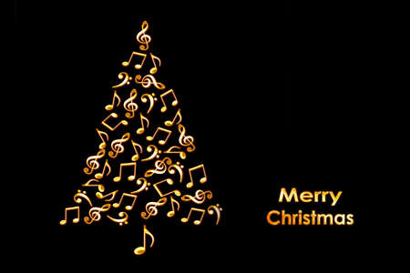 christmas card with a christmas tree made of shiny golden musical notes on black background stock