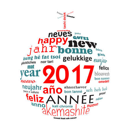 multilingual: 2017 new year multilingual text word cloud greeting card in the shape of a christmas ball