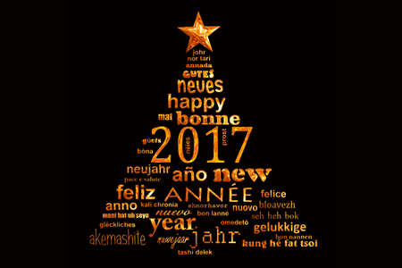 cloud shape: 2017 new year multilingual text word cloud greeting card in the shape of a christmas tree Stock Photo