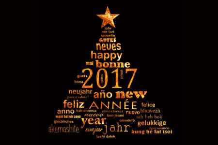 languages: tarjeta de felicitación de la palabra de texto multilingüe nube nuevo 2017 años en la forma de un árbol de navidad