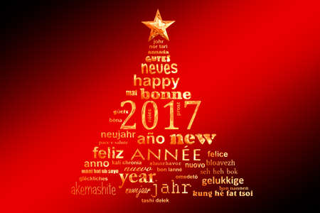 2017 new year multilingual text word cloud greeting card in the shape of a christmas tree Stock Photo