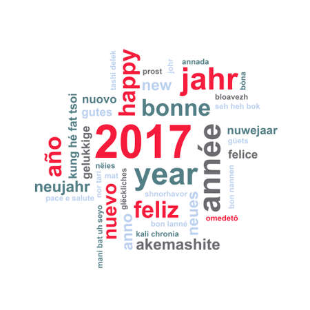 multilingual: 2017 new year multilingual text word cloud square greeting card Stock Photo