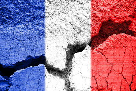 French flag on cracked texture background