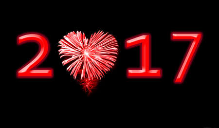 love explode: 2017, red fireworks in the shape of a heart