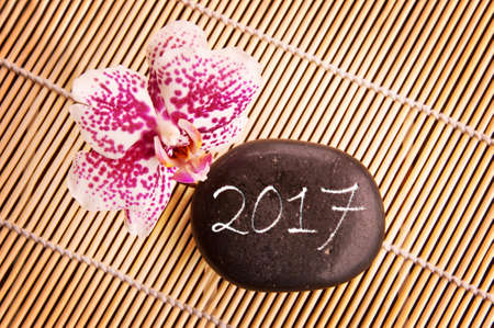 2017 written on a black pebble with pink orchid, zen greeting card Stock Photo