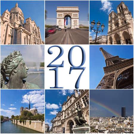 2017 parigi carta collage viaggio di auguri Archivio Fotografico