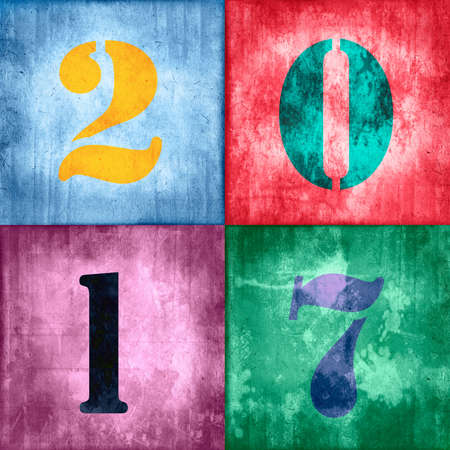 colorful grunge: 2017, vintage numbers on grunge textured colorful background