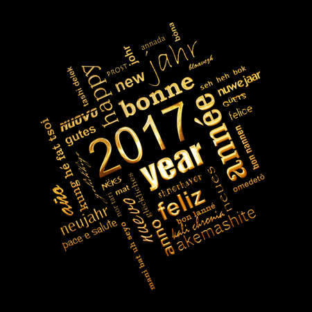 multilingual: 2017 new year multilingual golden text word cloud square greeting card on black background
