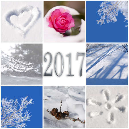 winter photos: 2017, snow and winter photos collage greeting card Stock Photo
