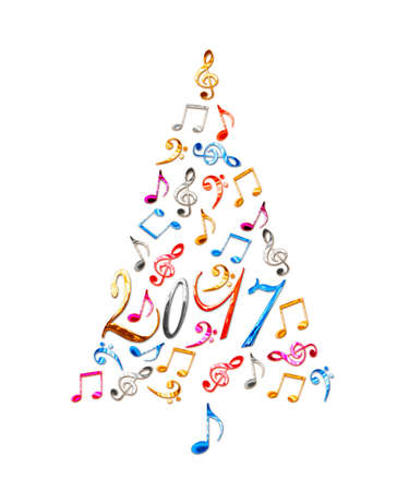 2017 Christmas Tree With Colorful Metal Musical Notes Isolated On ...