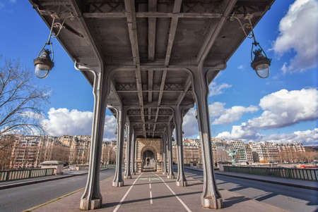 symetric: Bir Hakeim bridge in Paris, France