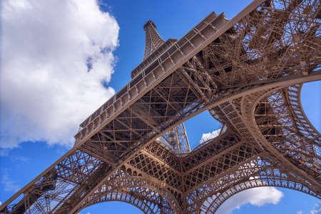 below: The Eiffel Tower, view from below, Paris France