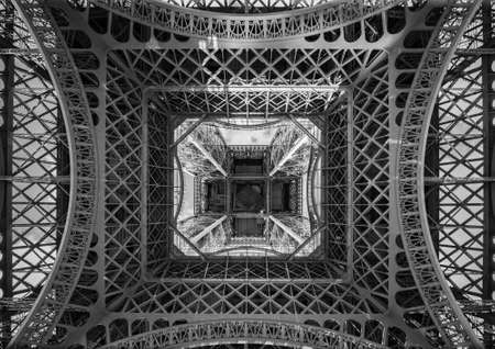 The Eiffel Tower, view from below, Paris France
