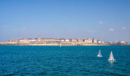 st malo: Seaside view of Saint Malo, Brittany, France Stock Photo