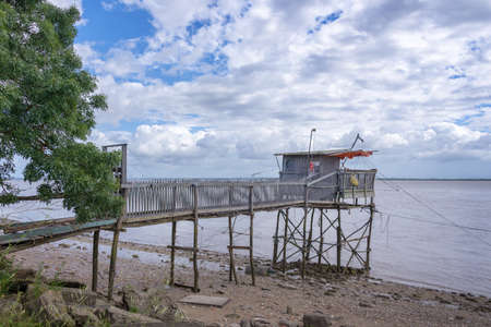 gironde: Old wooden fisher cabin on Gironde estuary, France