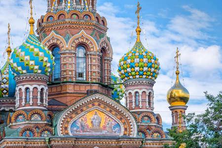 サンクト ・ ペテルブルクのロシア、血の上の救世主教会
