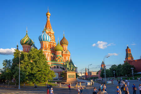 red square moscow: St Basils cathedral on Red Square, Moscow, Russia Stock Photo