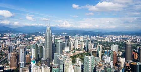 panorama: Aerial view of Kuala Lumpur skyline, Malaysia Stock Photo