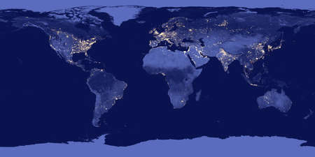satellite view: Earth by night - Elements of this image are furnished by NASA Stock Photo