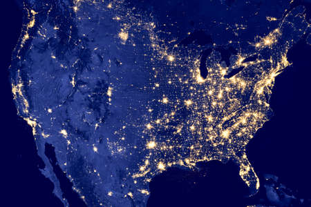America by night - Elements of this image are furnished by NASA