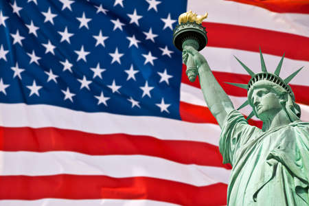 stated: Statue of Liberty, United Stated flag background, New York, USA