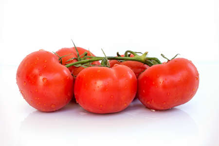 trickles: Fresh branch of tomatoes with water droplets on white background