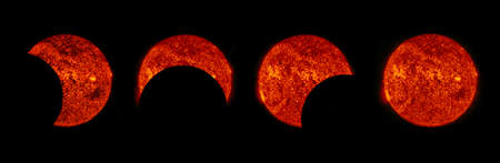 Solar eclipse phases - Elements of this image are furnished by NASA Stock Photo