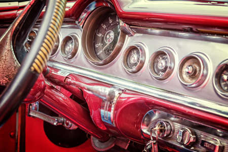 Inside of a vintage classic american car in Cuba, vintage process