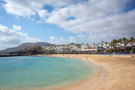 Flamingo beach in the town of Playa Blanca, in Lanzarote, Canary Islands, Spain Stock Photo - 77149405